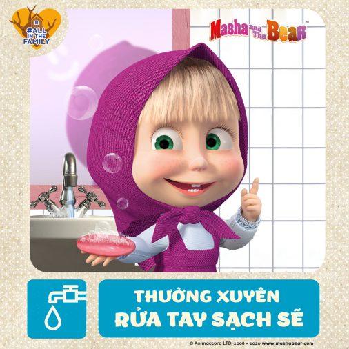 Cùng Masha thường xuyên rửa tay sạch sẽ