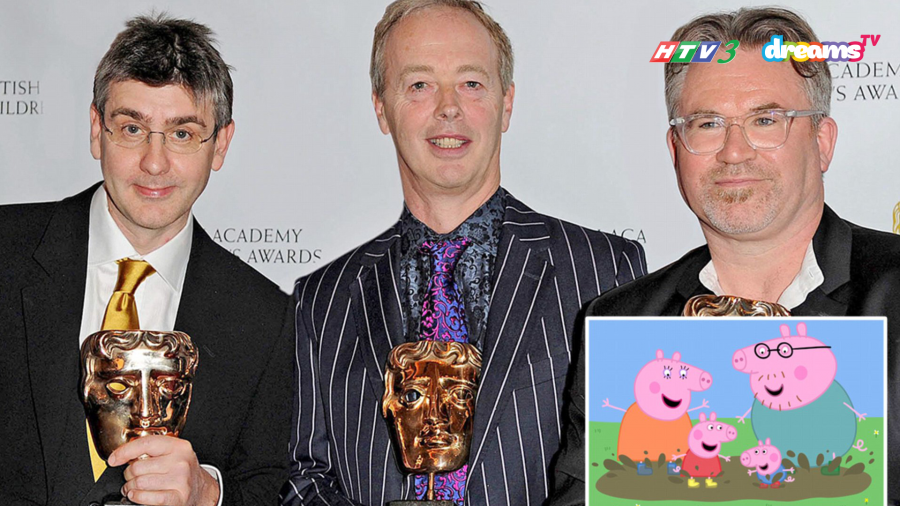 Bộ ba cha đẻ của Peppa Pig (từ trái qua: Neville Astley, Phil Davies và Mark Baker).