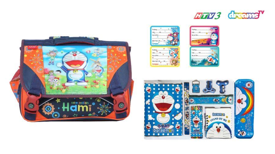 Cặp táp, bộ dùng cụ học tập, nhãn dán Doraemon ấu thơ | HTV3 DreamsTV